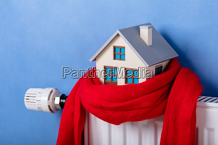 heating radiator with model house and