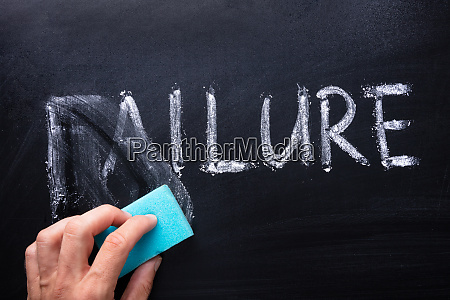 removing failure word with blue sponge