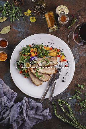 roasted pork salad with flowers