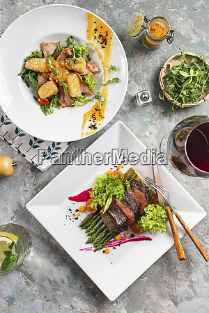 dinners of roast beef and meat