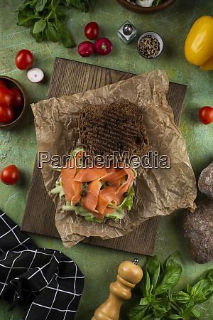 open salmon and caper sandwich