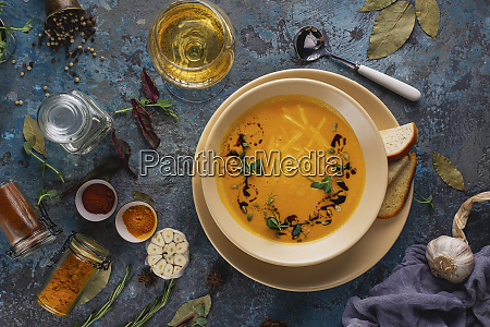 bowl of soup with white wine