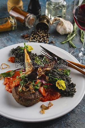 meal of beef with vegetables and