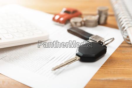 car purchase concept car keys calculator