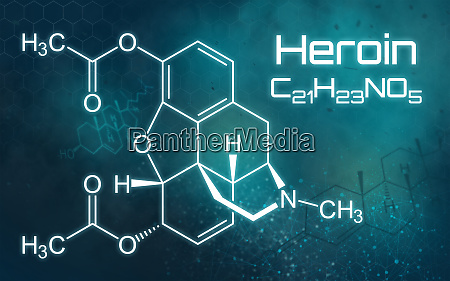 chemical formula of heroin on a