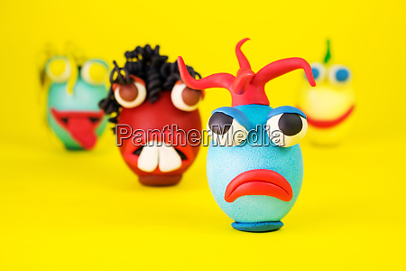 easter eggs cartoon characters with plasticine