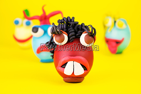 easter egg cartoon characters with plasticine
