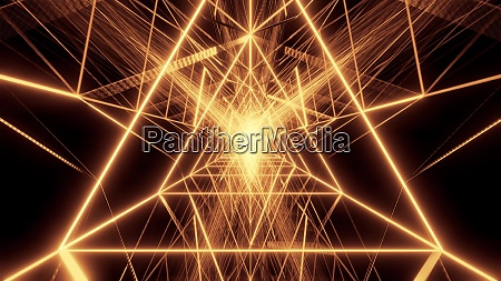 abstract golden triangle wireframe design 3d