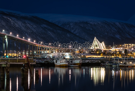 tromso harbour and arctic cathedral