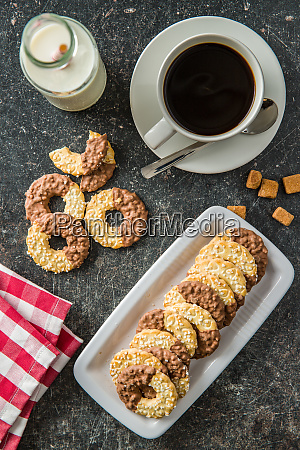 sweet biscuits rings cookies with chocolate
