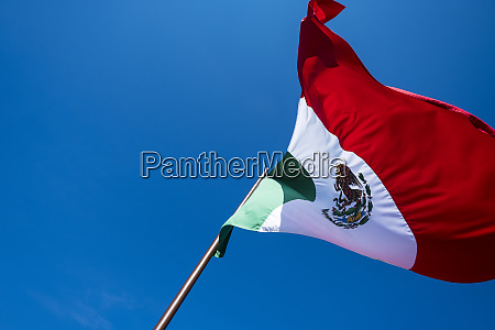mexican flag waving in a blue