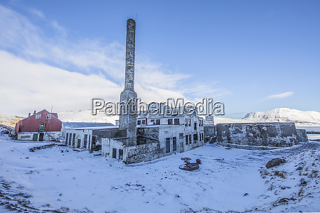the abandoned herring factory in snow