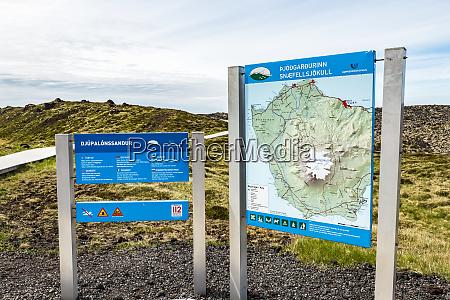 a tourist information sign at snaefellsjokull