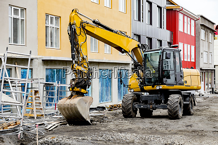 a heavy equipment excavator is parked