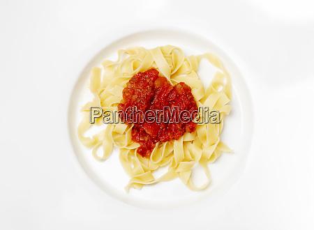 italian tagliatella pasta with tomato sauce