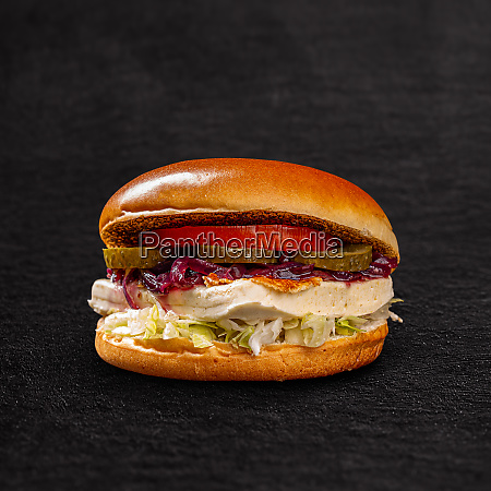 vegetarian burger with grilled soft cheese
