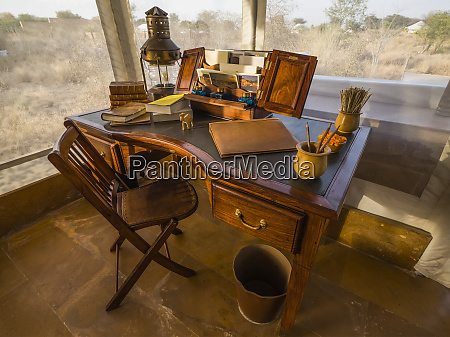 desk in the foyer of a