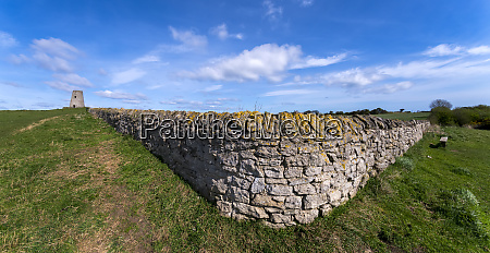 old dry stone wall along a