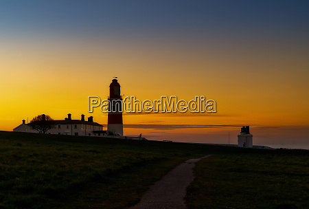souter lighthouse at sunset with glowing
