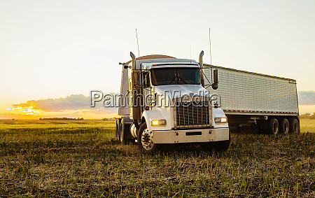 transport truck in a canola field