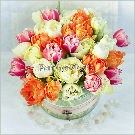 bouquet of colourful flowers in a