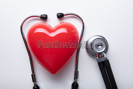 red heart shape with stethoscope