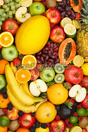 fruits collection food background portrait format