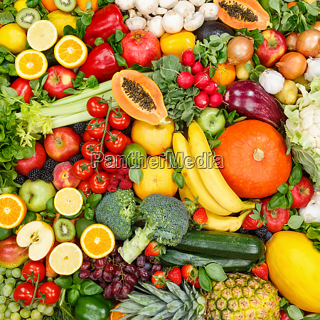 fruits and vegetables collection food background