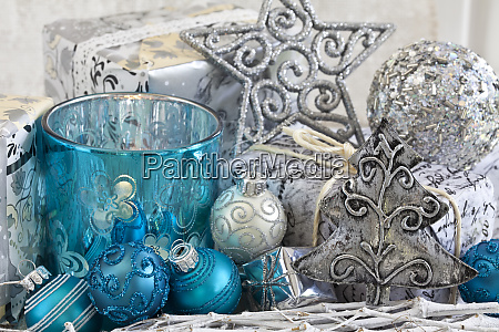 christmas decoration with blue and silver