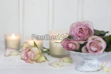 romantic roses still life with candles