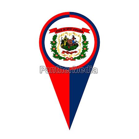 west virginia map pointer location flag
