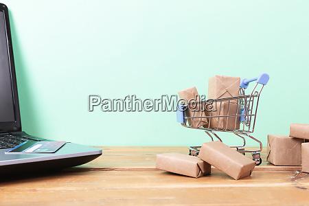 online shopping concept shopping cart small