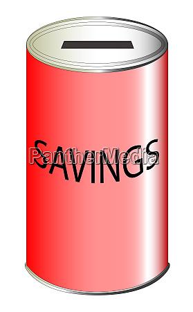 savings red tin can