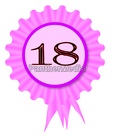 18 text rosette birthday icon