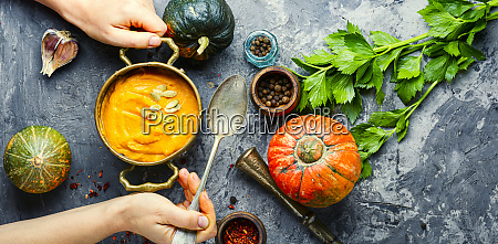 pumpkin soup in a pot