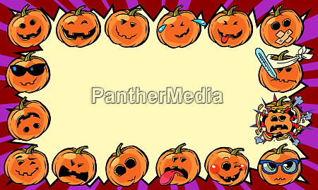 emotional halloween pumpkin holiday frame background
