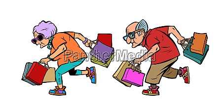 elderly couple grandparents with shopping