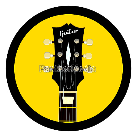 guitar headstock round icon