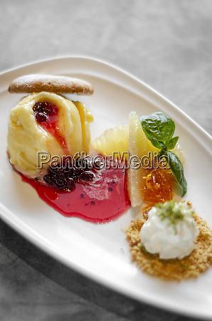 gourmet mango ice cream with redcurrant
