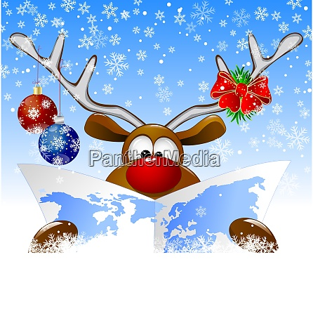 reindeer, with, a, world, map - 27293115