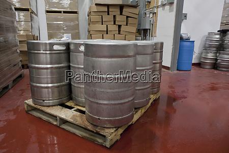 barrels in a brewery