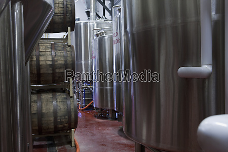 fermentation tanks in a brewery