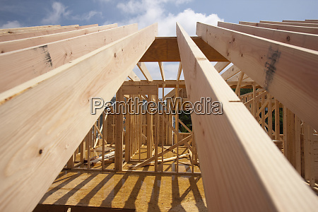 low angle view of roof rafters