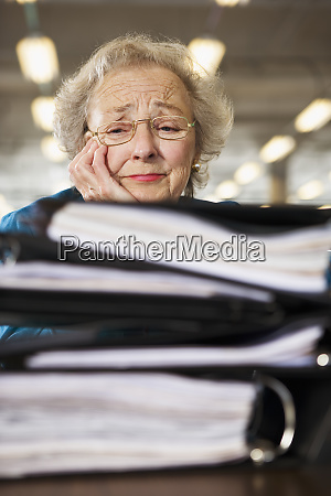 view of a senior woman tensed