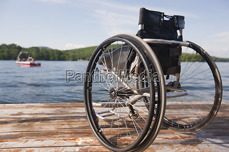 close up of a wheelchair on