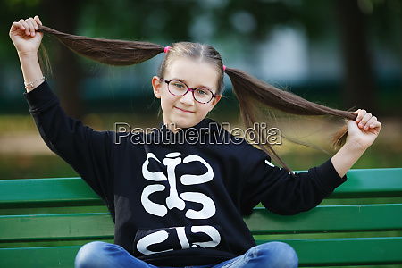 girl with hairstyle ponytails