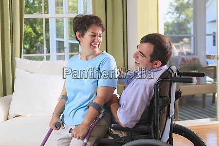 couple with cerebral palsy acting with