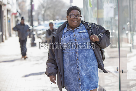happy woman with bipolar disorder walking