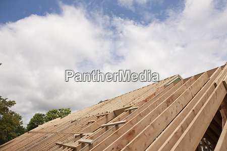 roof rafters of a house under