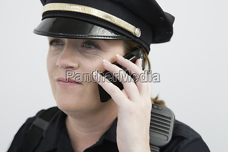 view of a police woman talking